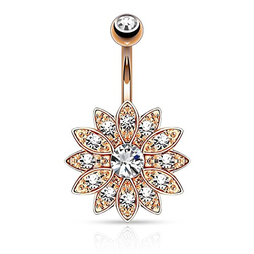 Clear Crystal Belly Button Ring Jeweled Flower Navel Barbell Body Piercing Jewelry Rose Gold