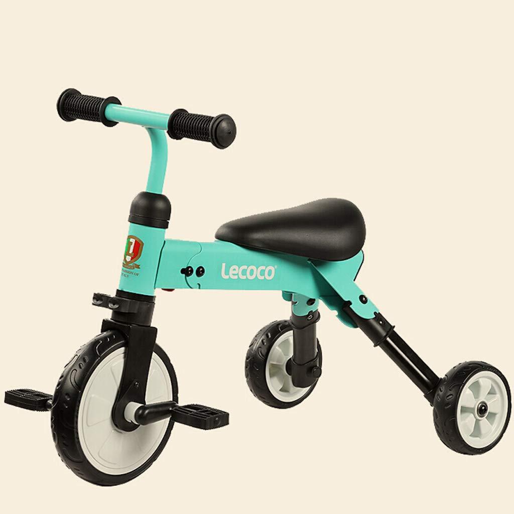 Kinder Dreirad 1-4 Jahre Alt Kinderwagen Spielzeugauto Kinder Jungen Und Mädchen Baby Folding Dreirad Pedal Fahrrad Freies Installation (Farbe   Blau)