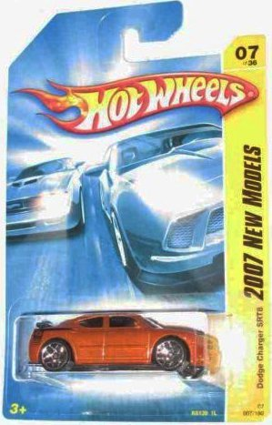 New Dodge Charger - Hot Wheels 2007 New Models #7 Dodge Charger SRT8 Orange with Black Wing #2007-07 Collectible Collector Car Mattel 2007 1:64 Scale Collectible Die Cast Car
