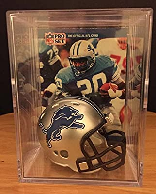 Detroit Lions NFL Helmet Shadowbox w/ Barry Sanders card