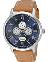 GUESS Mens Stainless Steel Leather Casual Watch, Color: Silver-Tone/Brown (Model: U0870G4)