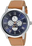 GUESS Men's Stainless Steel Leather Casual Watch, Color: Silver-Tone/Brown (Model: U0870G4)