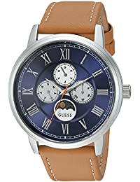 GUESS Men's Quartz Stainless Steel and Leather Casual Watch, Color:Brown (Model: U0870G4)