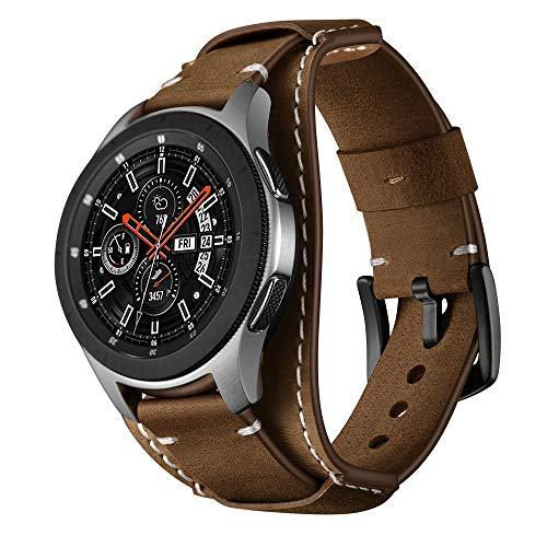 Balerion Cuff Genuine Leather Watch Band,Compatible with Galaxy Watch 46mm,Gear S3,fssil Q Explorist/Q Marshal Gen 2 and Other Standard 22mm Band Width Watch,Coffee ()