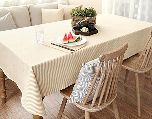 HOMEE Pure cotton simple stripe tablecloth art european style modern home cabinet dustproof cloth Christmas decorations,A,100X100cm by HOMEE
