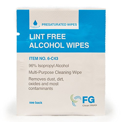 FG Clean Wipes 4″x3″ Lint Free Alcohol Wipes – 96% IPA Box of 60 Individually Wrapped Sachets (6-C43)