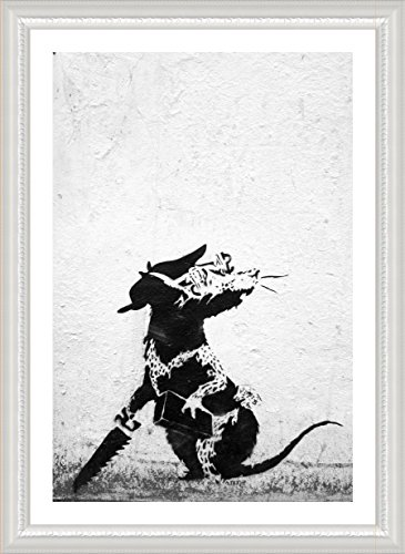 "Alonline Art - Rat With Dollar Eyes And Jigsaw Banksy White FRAMED POSTER (Print on 100% Cotton CANVAS on foam board) - READY TO HANG | 30""x42"" 
