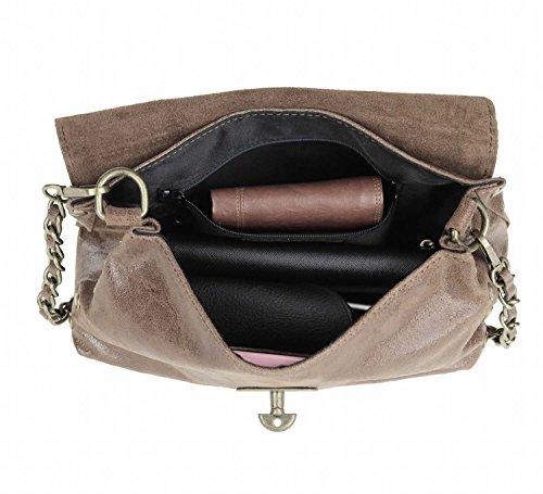 ital. Damen Tasche Ledertasche Vintage Kettentasche Umhängetasche Schultertasche Clutch Handtasche ital-design (Taupe) cwt0vy