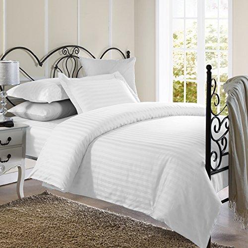 Cover Duvet Damask Stripes (Ellington Home 1800 Series 3 Piece Damask Stripe Duvet Cover Set (Full/Queen, White))