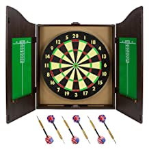 Triple Out Darts SDRT-201 Walnut Dartboard Cabinet Set with 6 Brass Darts and Board