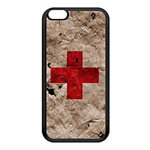 Grunge Paper Flag of Red Cross Black Silicon Rubber Case for iPhone 6 Plus by UltraFlags + FREE Crystal Clear Screen Protector
