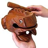 "World Percussion USA FR08N Deluxe JUMBO 8"" Wood Frog Guiro Rasp - Musical Instrument Tone Block, Brown"