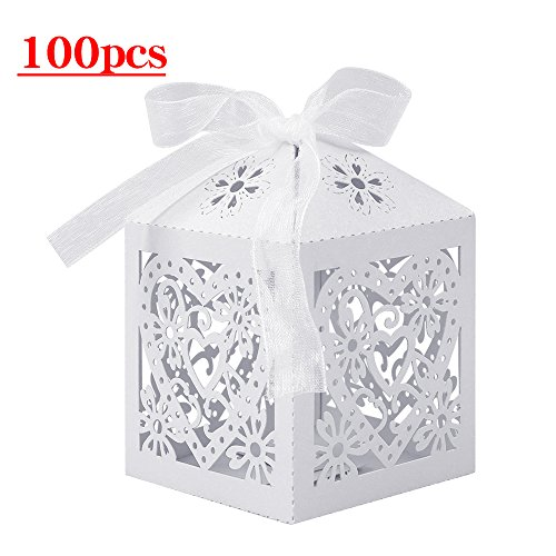 Lucky Monet 25/50/100PCS Love Heart Laser Cut Wedding Candy Gift Box Chocolate Box for Wedding Favor Birthday Party Bridal Shower with Ribbon (100pcs, White)