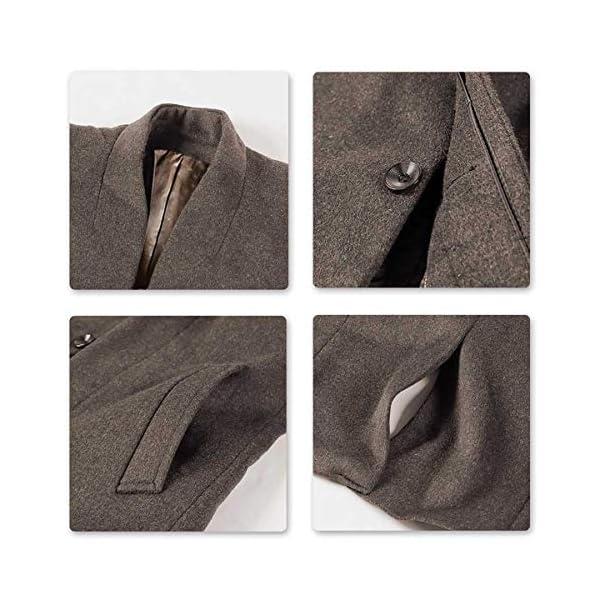 Allthemen Manteau Trench Coat Homme Hiver Laine Long Slim Fit Parka Laine Manche Longues Manteau