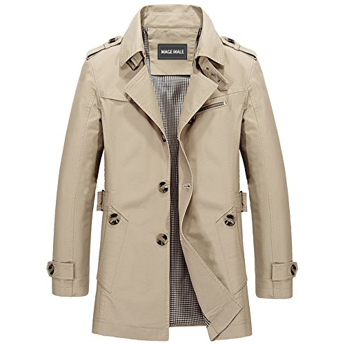 MAGE MALE Men Single Breasted Trench Coat Lightweight Slim Fit Notch Lapel Cotton Jacket,Light Khaki,X-Large by MAGE MALE