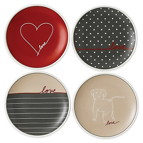ED Ellen DeGeneres Crafted by Royal Doulton ''Love'' Signature Mini Appetizer Plates (Set of 4)