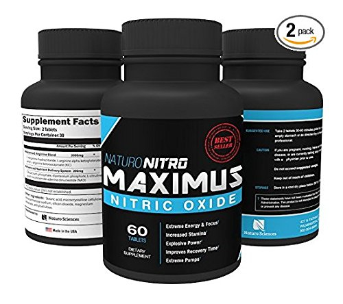 Maximus Nitric Oxide Nitric Oxide Tablets — High Potency NO Booster and L-arginine Supplement - Allows You to Build Muscle Faster, Workout and Train Longer and Harder — 60ct, Pack of 2