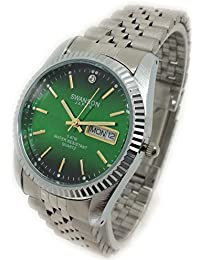 Reloj de Hombre Swanson Japan Watch Mens Green Dial Day-Date Silver New Water Resistant