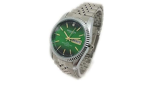 Amazon.com: Reloj De Hombre Swanson Japan Watch Mens Cara Verde,Fecha,Dia contra el Agua Nuevo: Watches