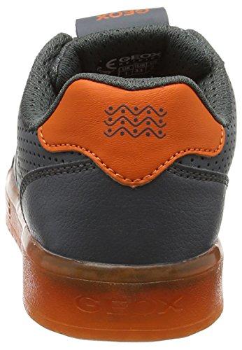 Geox J Kommodor B, Zapatillas para Niños Gris (Dk Grey/orange)
