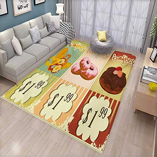 Vintage Bath Mats for Floors Bakery Collection of Delicious Pastries Deserts Doughnuts and Cakes with Price Tags Door Mat Indoors Bathroom Mats Non Slip 4'x6' Multicolor