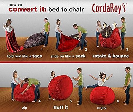 Amazon.com: CordaRoyu0027s   Red Corduroy Convertible Bean Bag Chair   Full:  Home U0026 Kitchen