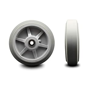 """8"""" x 2"""" Thermoplastic Rubber Flat Tread Wheel Only with Precision Ball Bearing - 1/2"""" Bore - 600 lbs Capacity per Wheel - Service Caster Brand"""