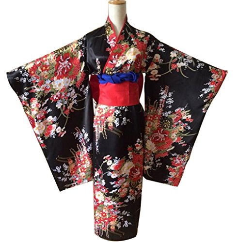 Hell Girl Costume (Poetic Walk Jigoku Shoujo Hell Girl Enma Japanese Cosplay Kimono (Medium, Black))