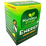 Energy Drink Mix Sticks, Certified USDA Organic, Delicious Mixed Berry Flavor, 30-Count