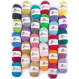 30 Yarn Skeins - Bulk Yarn Crochet Kit, 1300yds, 21 Once of 100% Acrylic Knitting Yarn for Craft Projects, Pom Poms