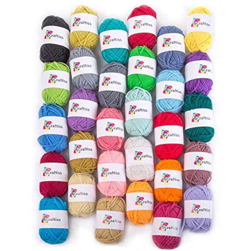 Craftiss 30 Unique Colors Acrylic Yarn Skeins ~ Bulk Yarn Kit ~ 1300 yards ~ Perfect for Any Knitting and Crochet Mini Project