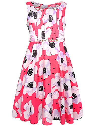 Bonny Billy Girls Classy Vintage Floral Swing Kids Party Dresses (3-4 Years, Pink(Sleeveless))