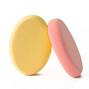 Drametree Oval Puff 2 Packs Skin Tone And Pink Make-up Egg Air Cushion Puff Beauty Egg Foundation Sponge Professional Makeup Sponge Wet And Dry