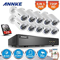 ANNKE 16CH Security Camera System 1080P Lite Video DVR with 2TB Hard Drive and (10) 1.0MP (1280TVL) Outdoor Bullet Cameras