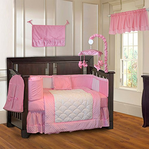 BabyFad Minky Pink 10-piece Girls' Baby Crib Bedding Set with Musical Mobile ()