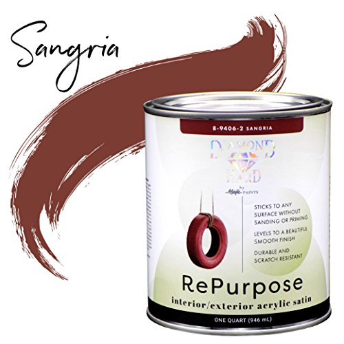 Majic Paints 8-9406-2 Diamond Hard Interior/Exterior Satin Paint RePurpose your Furniture, Cabinets, Glass, Metal, Tile, Wood and More and More, 1-Quart, Sangria ()
