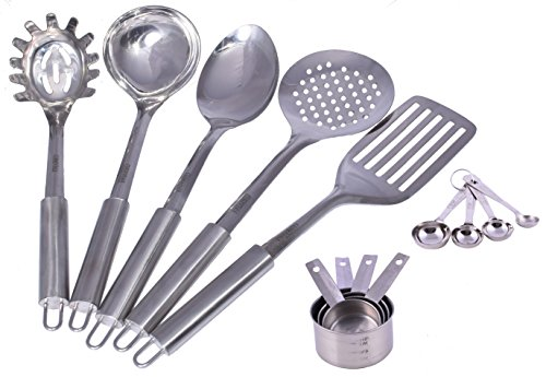 Stainless Steel Kitchen Tool Set with 5 Cooking Utensil Tools 4 Measuring spoons & Cups - 13 Pieces 13' Ladle