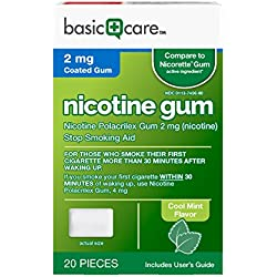 Basic Care Nicotine Gum 2 mg Stop Smoking Aid, Cool Mint, 20 Count