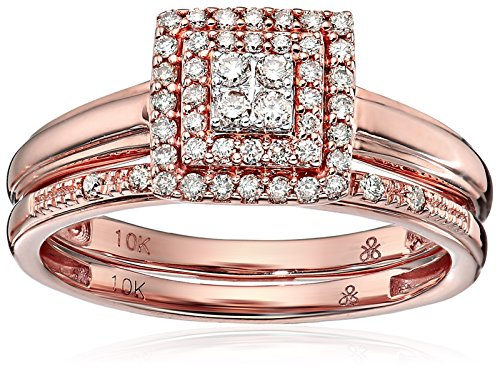 Pink Champagne Diamonds (10k Rose Gold Round-Cut Diamond Bridal Promise Ring (1/4cttw, champagne Color, I1-I2 Clarity), Size 8)