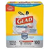 Glad 70427 ForceFlex Tall Kitchen Drawstring Trash Bags, White, 13 Gal, 0.9 Mil, 100/Box