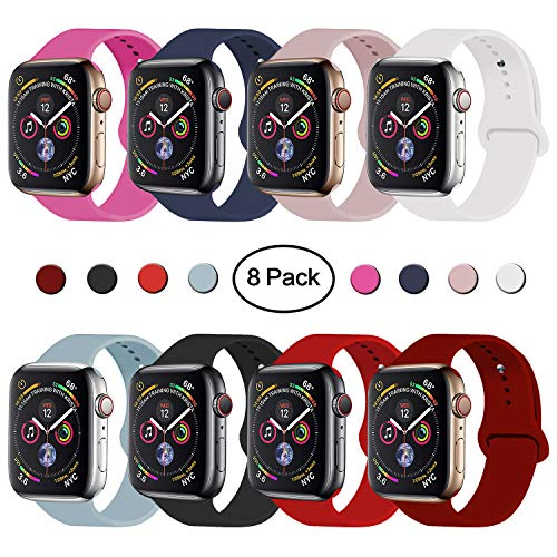 Watch Sports Strap - VATI Sport Band Compatible with Watch Band 40mm 44mm 42mm 38mm, Soft Silicone Sport Strap Replacement Bands Compatible with 2018 Watch Series 4, Series 3/2/1 S/M M/L