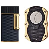 Colibri Julius Lighter and Monza Cutter Gift Set - Black & Gold
