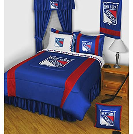 Amazon.com: NHL New York Rangers 5pc Bed in a Bag Queen Bedding Set ...