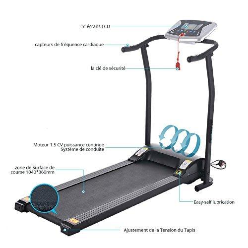 Teamyy Mini Cinta andadora plegable Máquina de correr Entrenamiento Corredor Eléctrico Negro