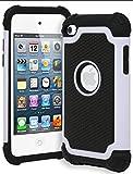 Bastex iPod Touch 4 Case, Hybrid Slim Fit Black Rubber Silicone Cover Hard