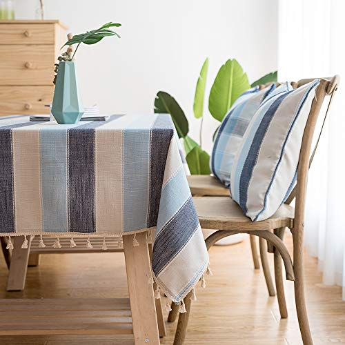 LINENLUX Striped Cotton Linen Tablecloth/Table Cover with Tassel Blue Navy Square/Round 55 X 55 in