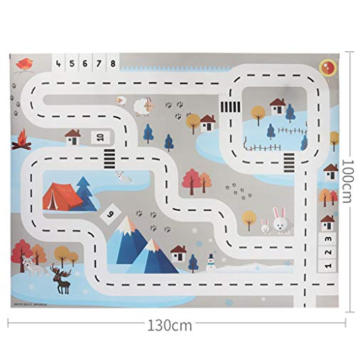 Kids Play Mat-Kids Play Mat City Road Buildings Parking Map Game Educational Toys Baby Gyms,Children Educational Road Traffic Play Mat (51.18 x 39.37 inch, A)]()