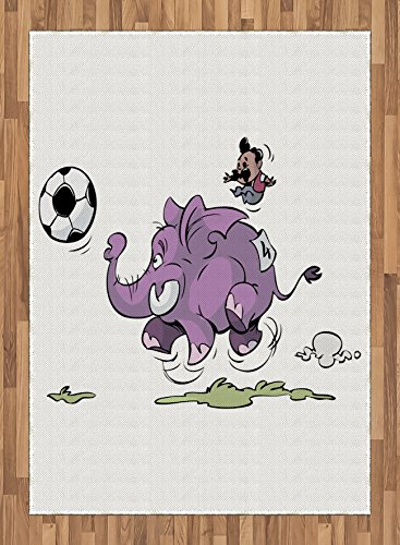 Elephant Area Rug by Ambesonne, Elephant Playing Soccer with a Kid Mario Moustache Sports Theme Football Print, Flat Woven Accent Rug for Living Room Bedroom Dining Room, 5.2 x 7.5 FT, Purple White by Ambesonne