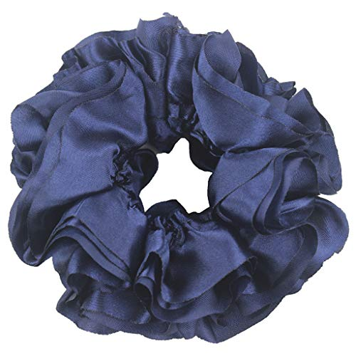 Performance Volumizing - Christmas Gift Headband Women's Solid Flexible Rubber Band Simple Hijab Volumizing Scrunchie Large Hair Bow Headwear Lovely Halloween Accessories (Navy)