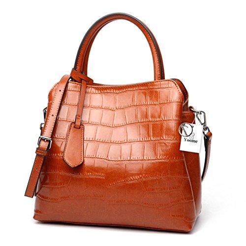 Borsa a tracolla in pelle stampa coccodrillo Yoome donna classica Borsa a tracolla in vera pelle borsa donna - marrone Marrone